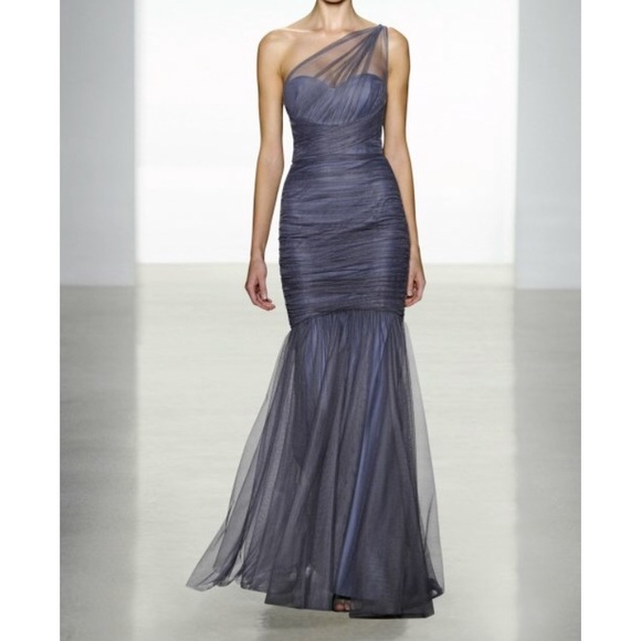 Amsale Dresses & Skirts - One-Shoulder Draped Mermaid Gown, Periwinkle